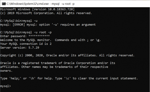 My sql command line tool welcome screen
