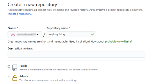 Create new private repository in GitHub